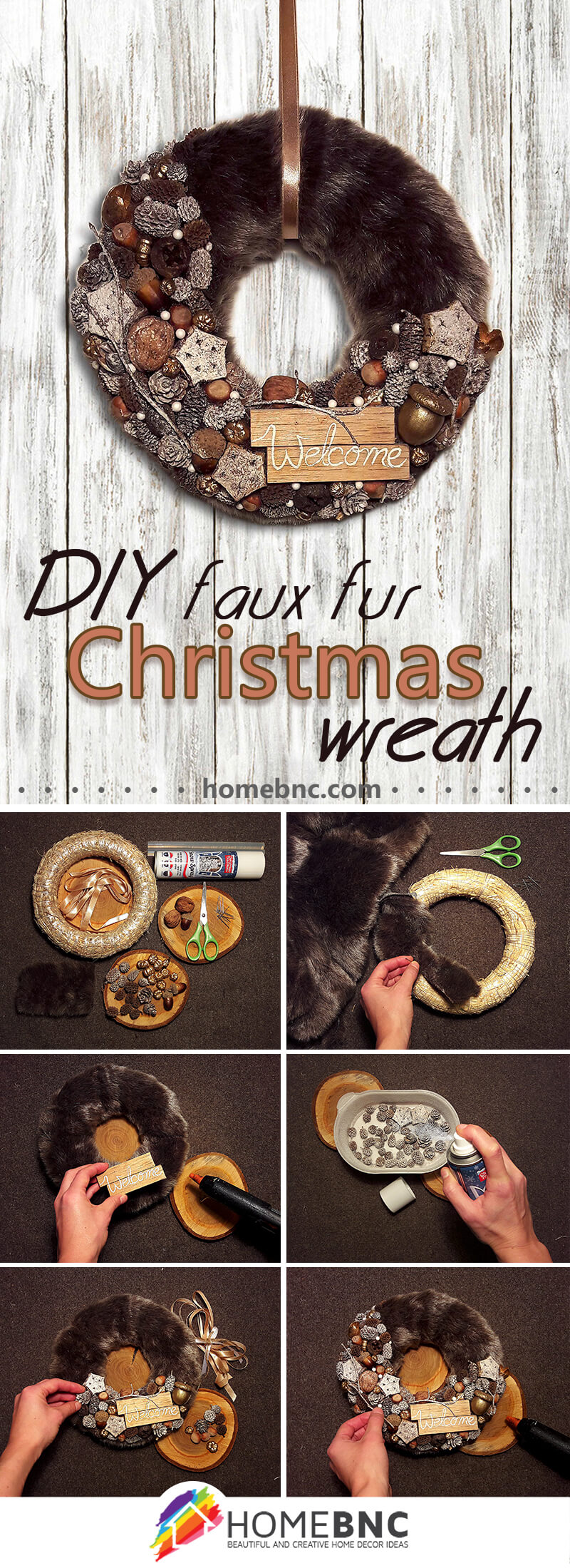 DIY Faux Fur Christmas Wreath