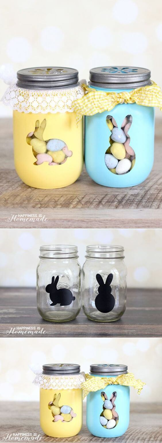 Easter Bunny Mason Jar Candy Favors