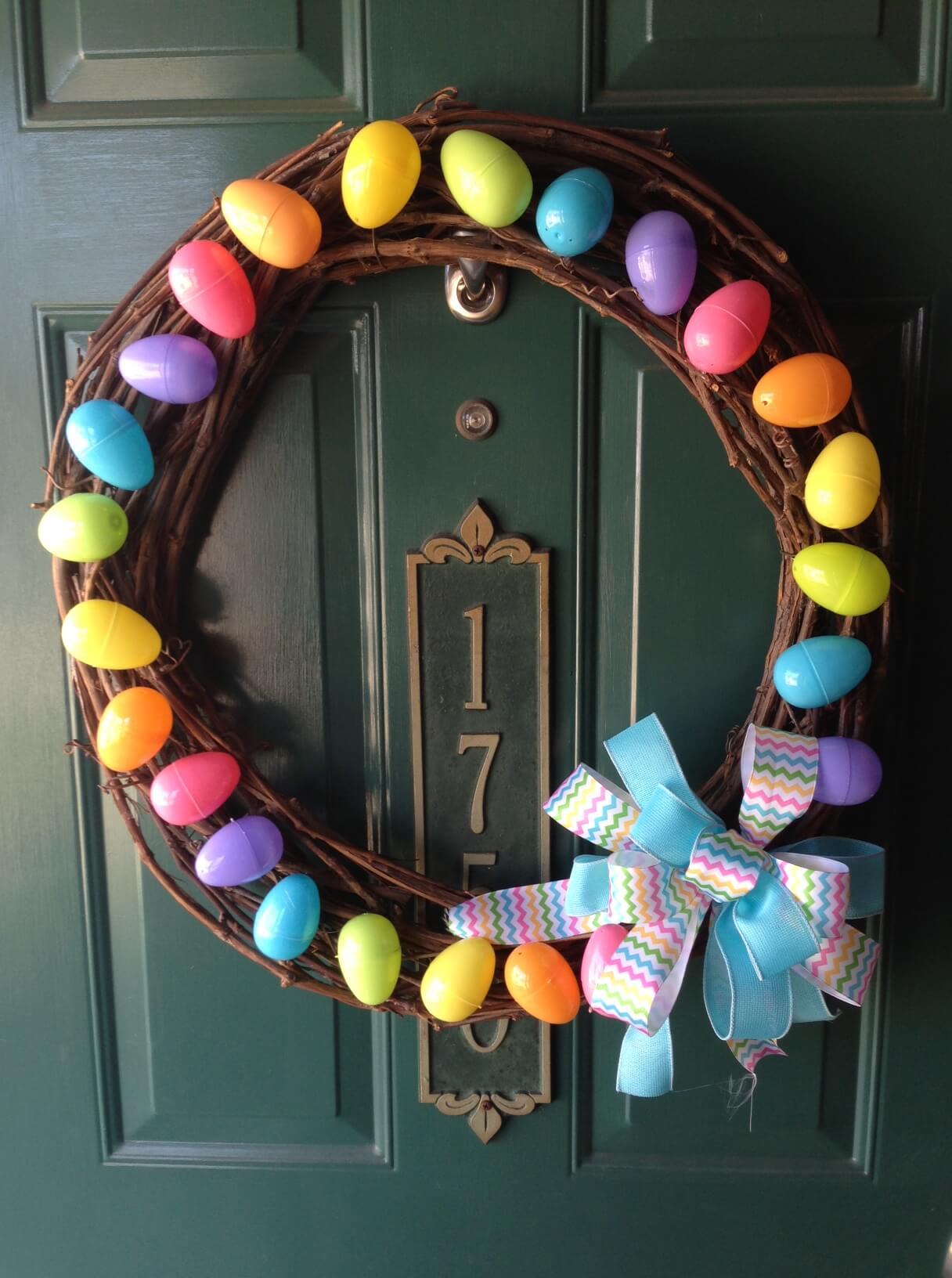 Rainbow Easter Egg Grapevine Wreath