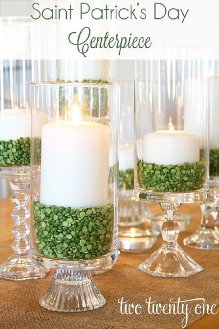 Super Easy St. Patrick's Day Candle Centerpiece