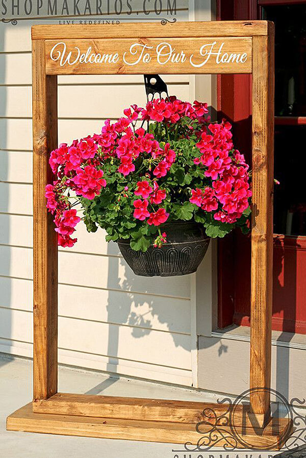 Framed Hanging Basket Decor Idea