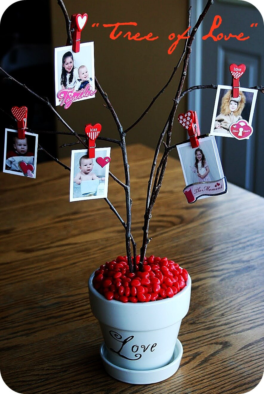 2. Tree Branch Family Photographs Centerpiece