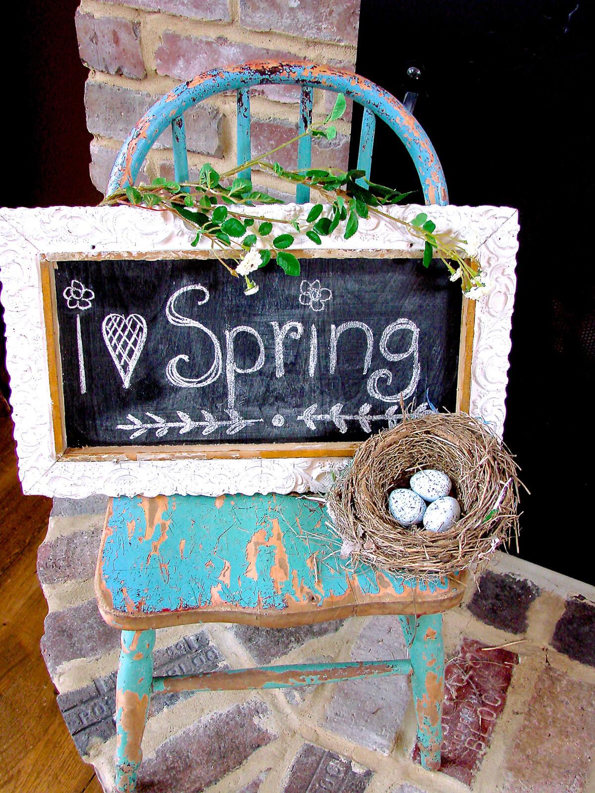 Upcycled Framed Chalkboard Spring Art