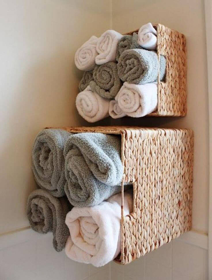 Towel Storage Ideas Small Bathroom Part - 16: 5. Stuff Your Worries In A Corner