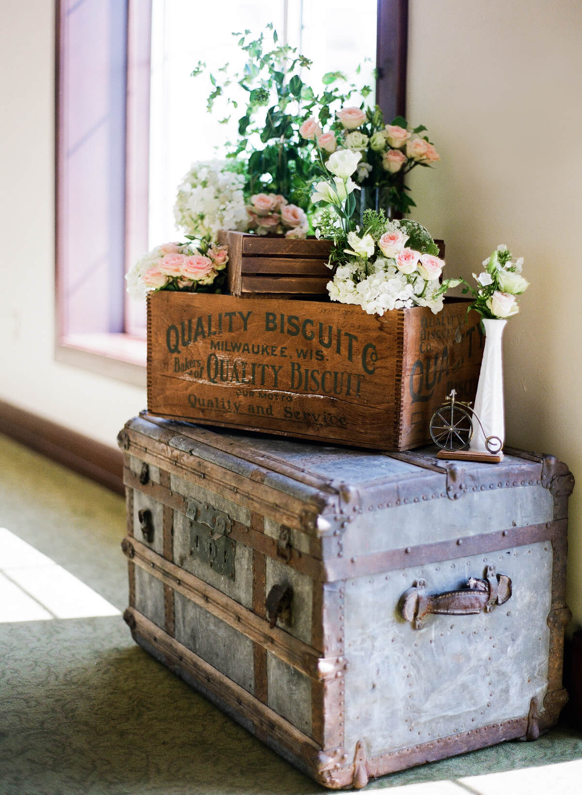 Arrange Feminine Florals on Antique Trunks