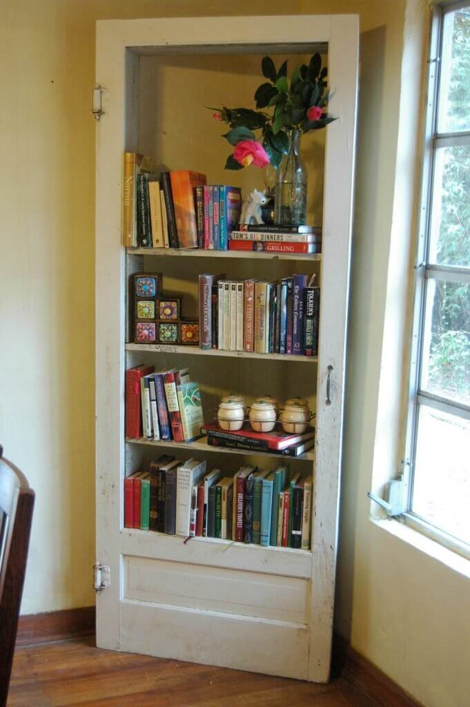 Book Shelves from Door and Reclaimed Wood