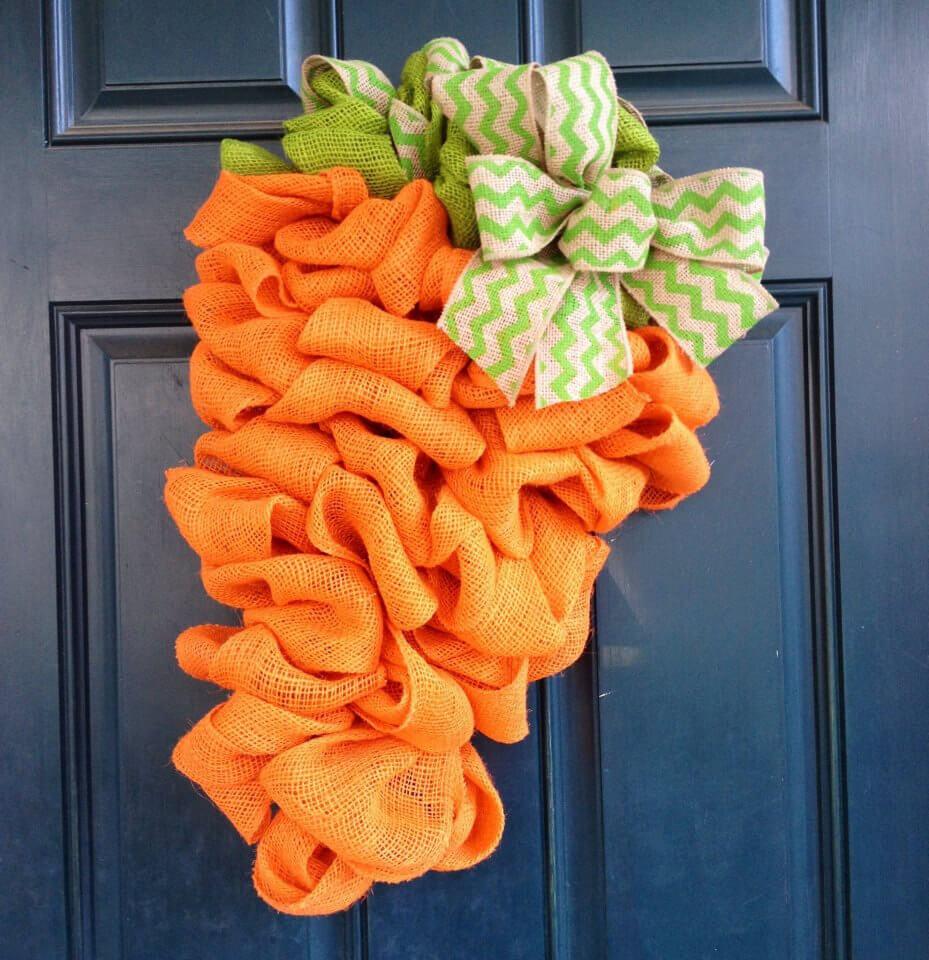 DIY Burlap Carrot Easter Door Decoration