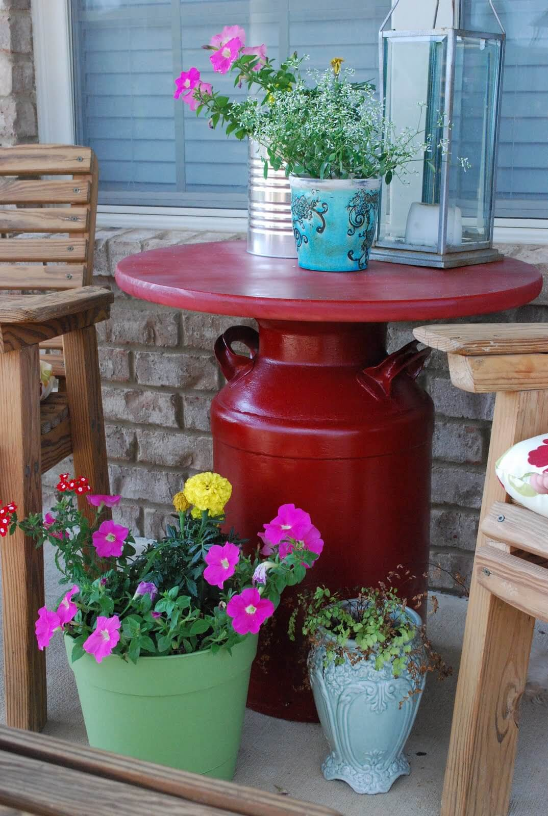 DIY Milk Can Patio Table