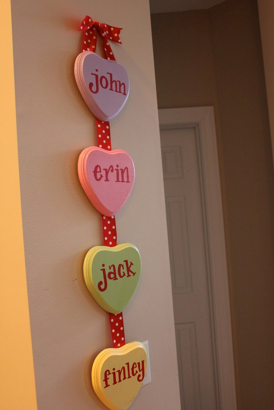 Monogrammed Candy Hearts Hanging Display
