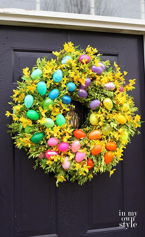 Rainbow Easter Egg and Flower Wreath