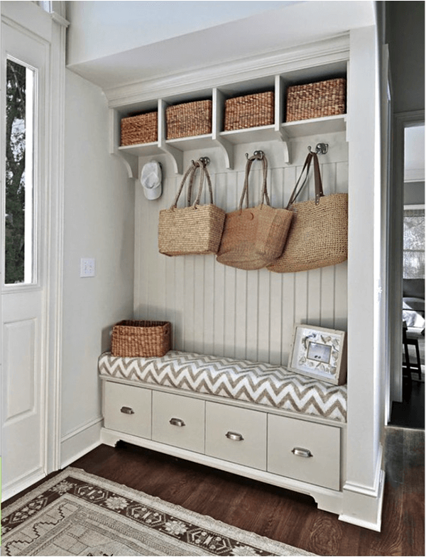 7 clever space usage and rattan accents - Mudroom Design Ideas