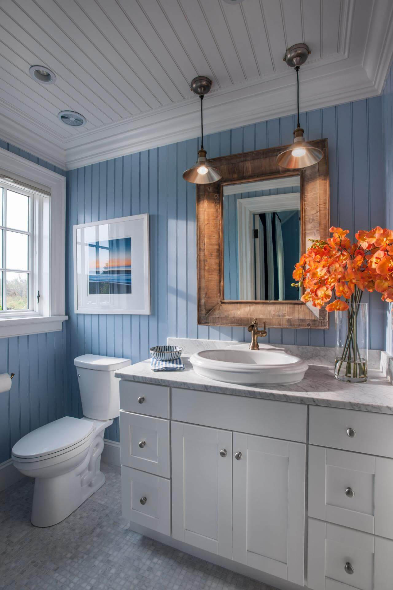 32 best small bathroom design ideas and decorations for 2017 beachy blue wainscoting with copper accents