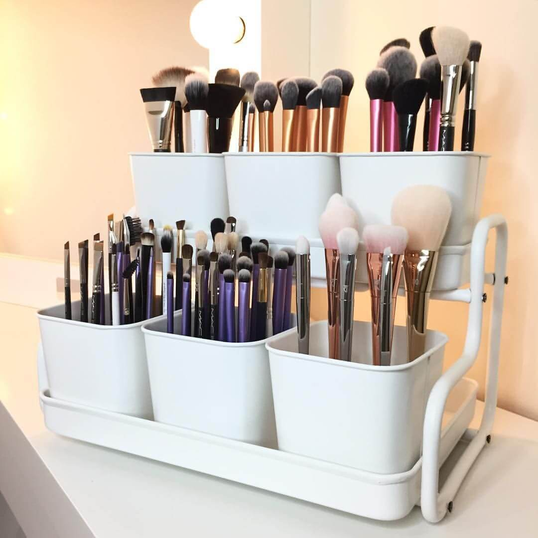 Small bathroom storage ideas - When He Asks How Many Makeup Brushes Do You Need