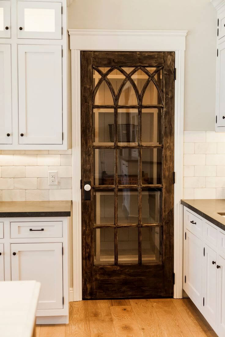 Intertwined Gothic Lattice Glass Pantry Door - 33 Best Repurposed Old Door Ideas And Designs For 2018