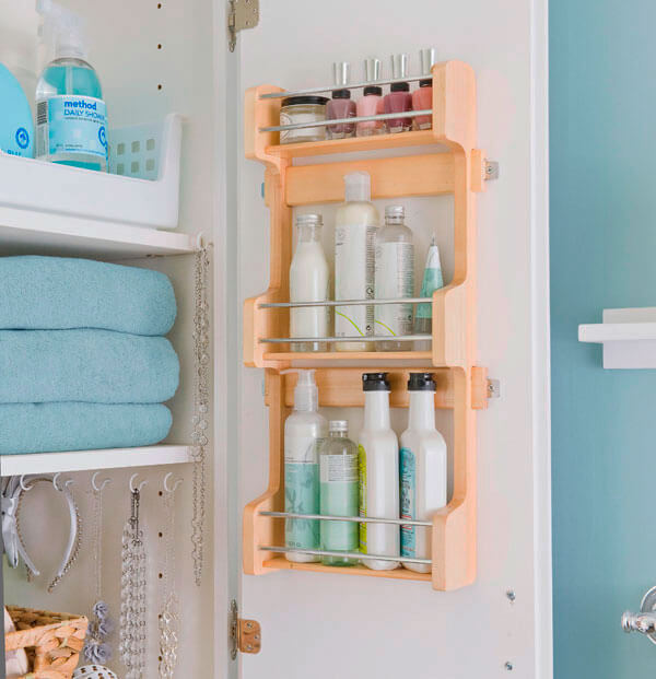 Storage Ideas For Small Bathrooms. 8 Bottoms Up And Bottles Out