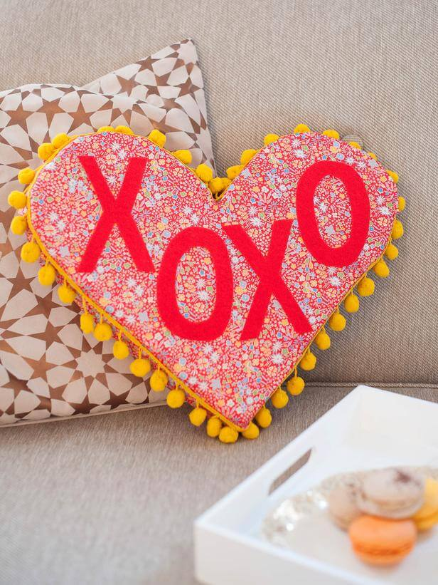 Cheery Heart Throw Pillow with Pompom Fringe