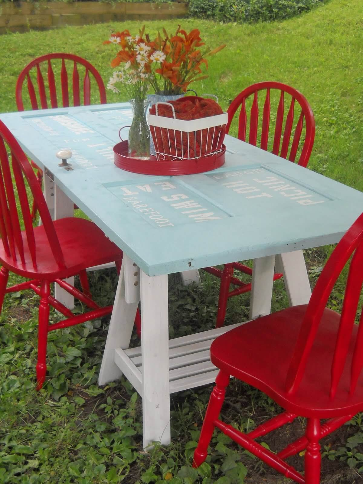 Outdoor Table DIY with Stenciling Detail