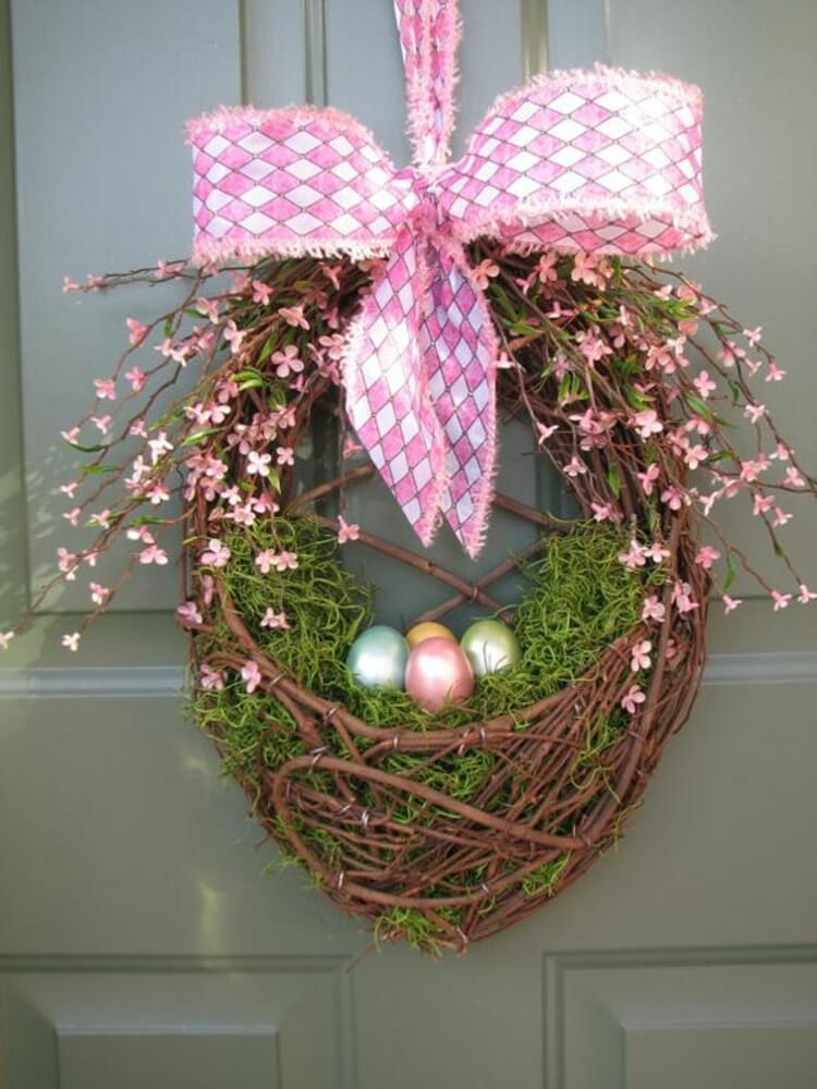 Pretty Easter Egg Nest Door Decoration & 26 Best Easter Wreath Ideas and Designs for 2018