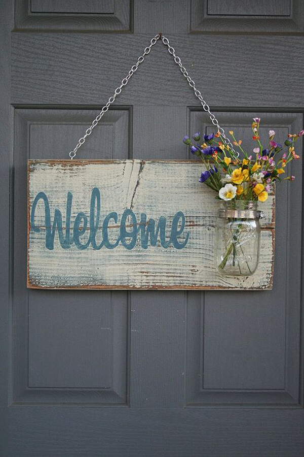 Welcome Sign with Mason Jar Flower Vase