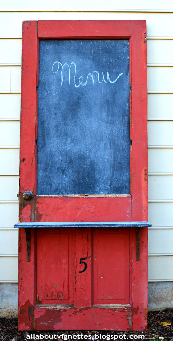 Upcycled Door with Chalkboard and Shelf