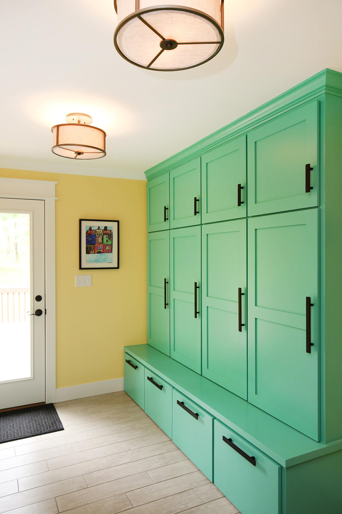 bright green lockers and builtin bench