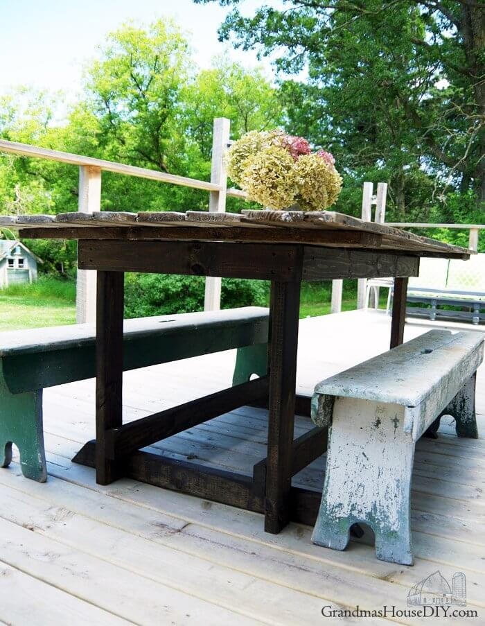 Barn Door Repurposed into Outdoor Table