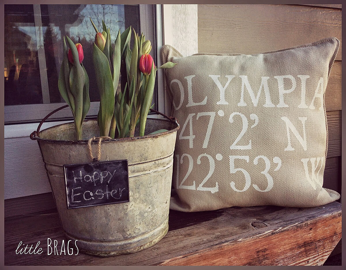 Upcycled Metal Bucket Easter Tulip Planter