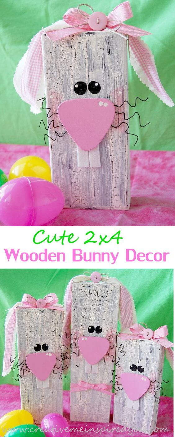 Cute 2x4 Wooden Easter Bunny