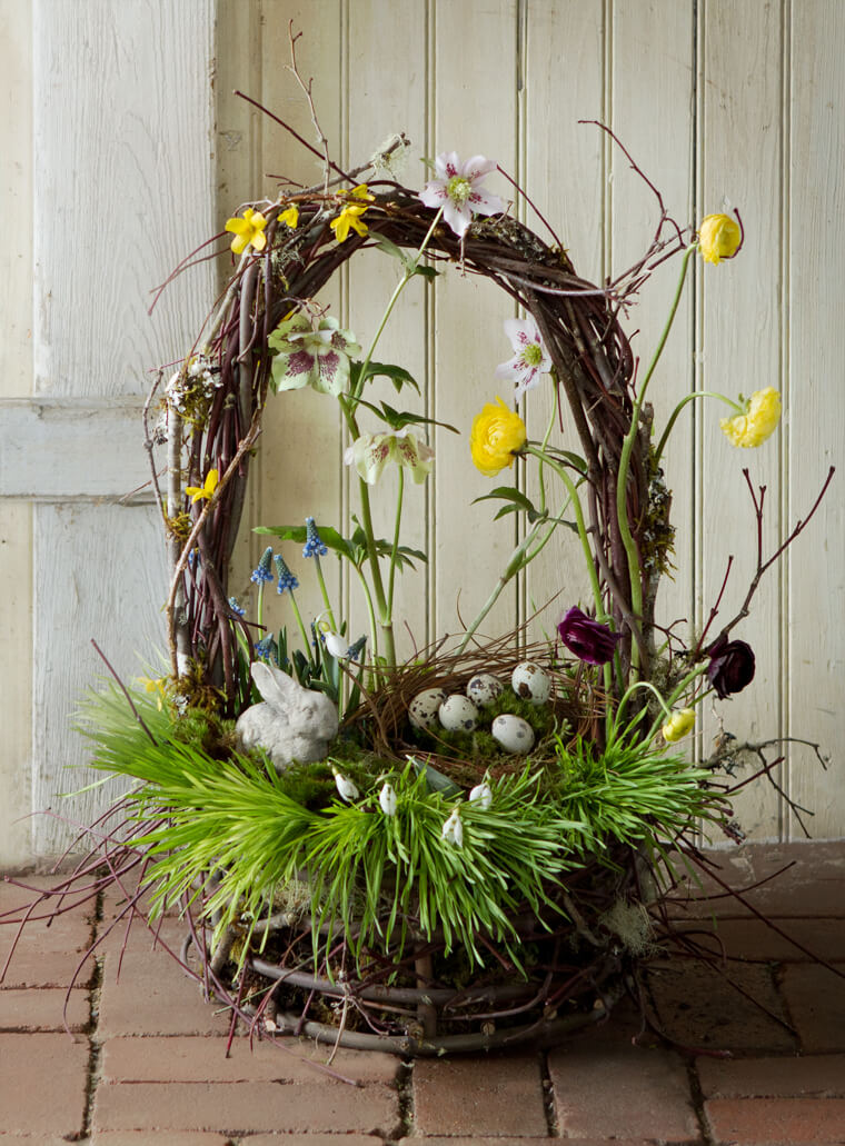 Grapevine Basket with Flowers
