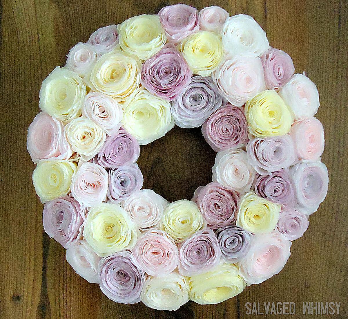 Paper Flower Wreath for Spring