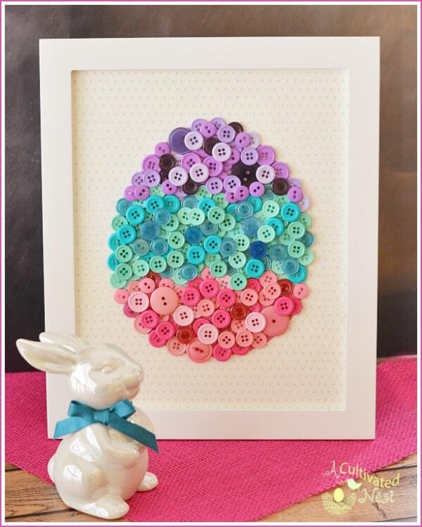 DIY Button Easter Egg Wall Art