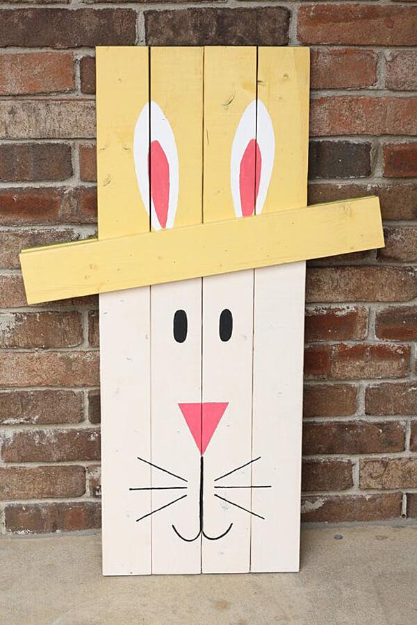 Wood Board Bunny Porch Décor