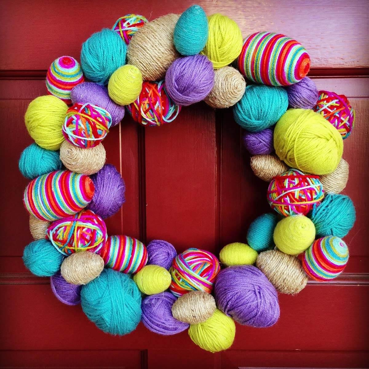 Colorful Yarn Easter Egg Wreath