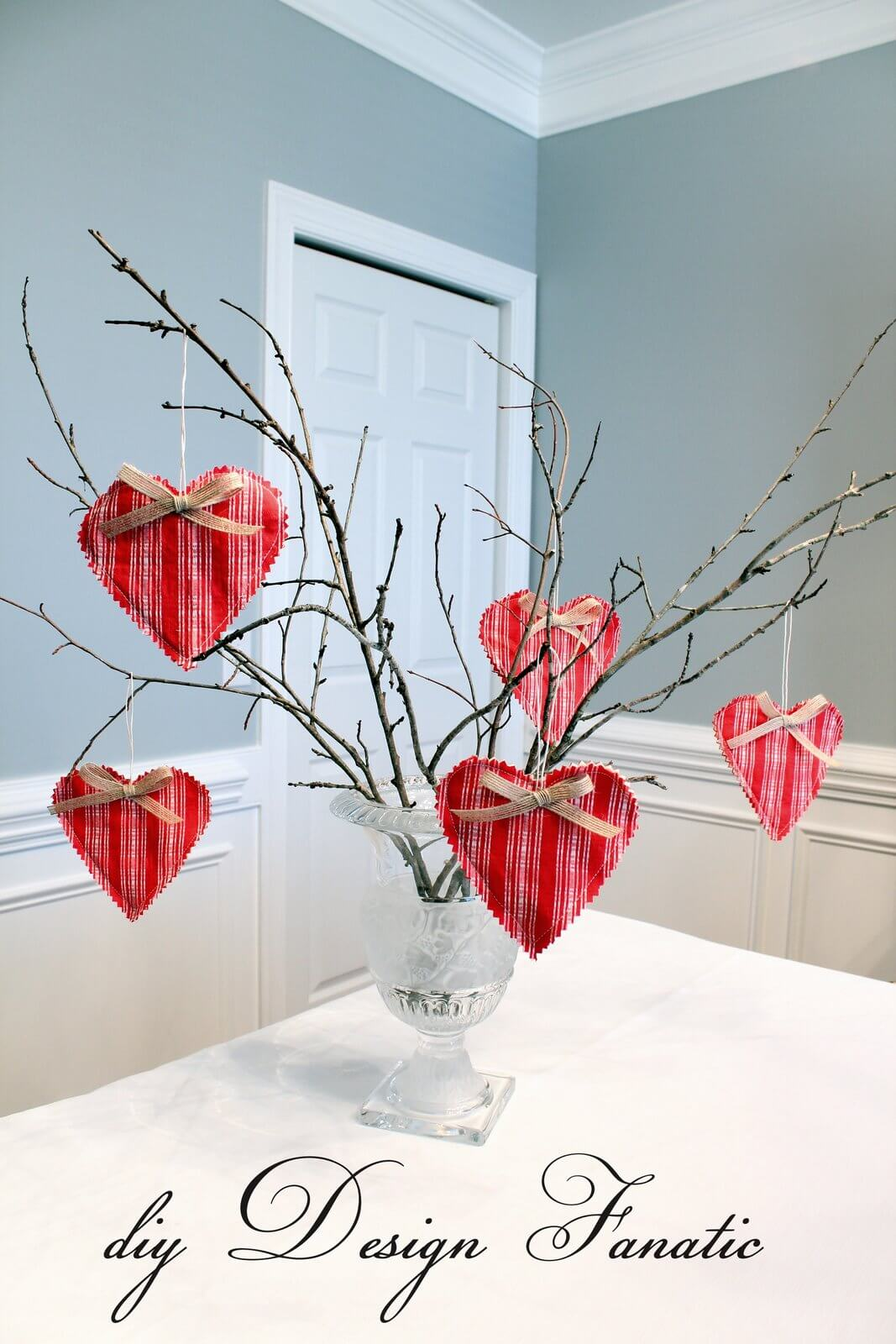 17 winter branches with plaid heart ornaments - Valentines Day Decor