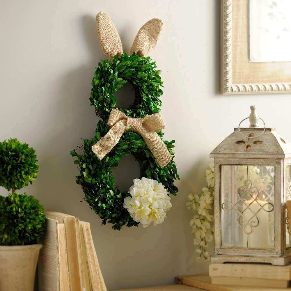 Burlap and Greenery Easter Bunny Wreath
