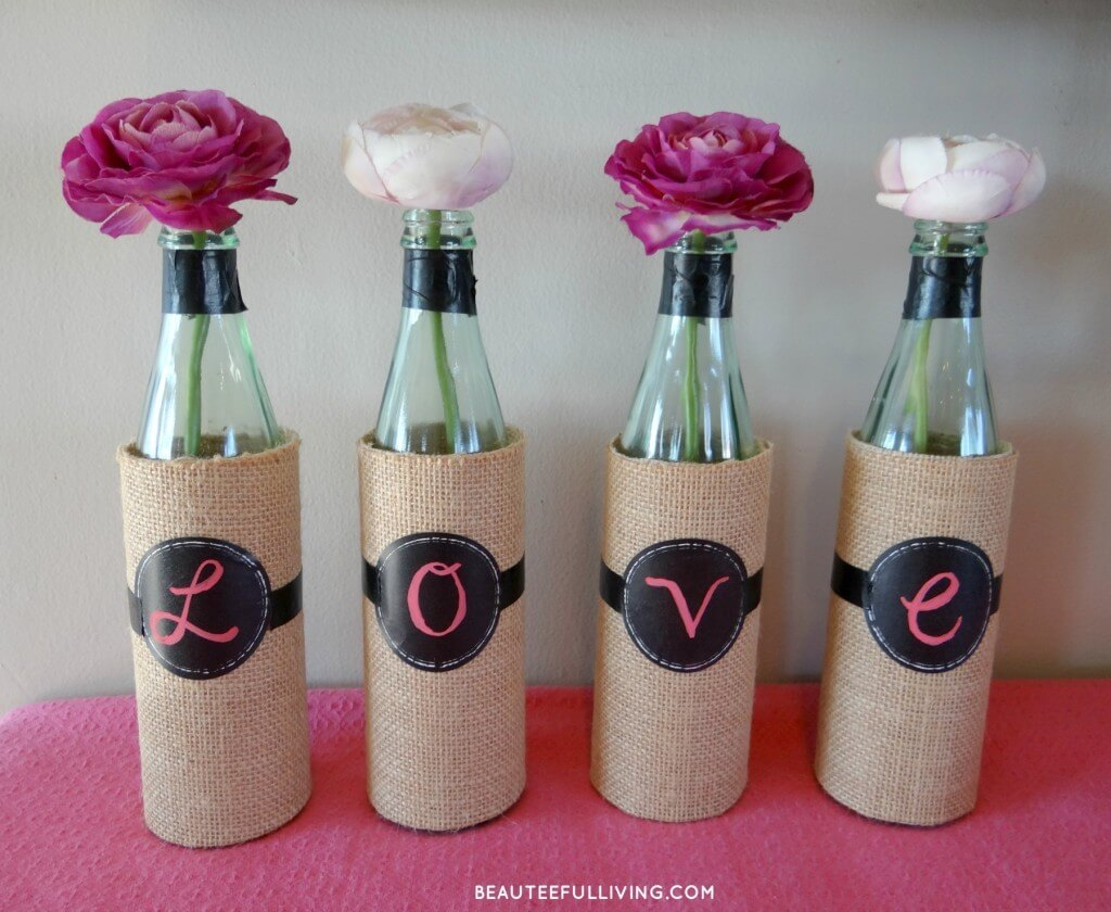 Burlap Wrapped Bottles with Cabbage Roses