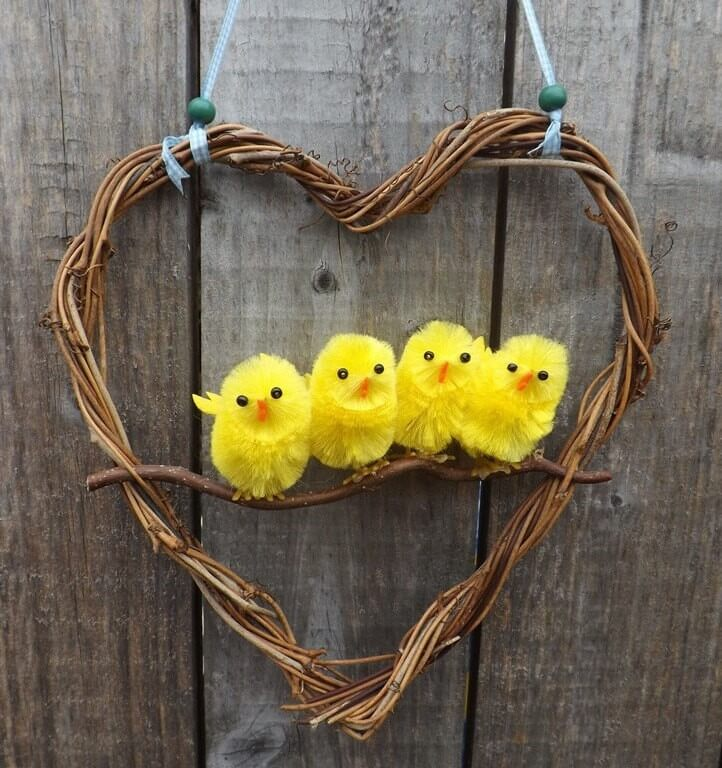 Heart-Shaped Grapevine Wreath with Baby Chicks