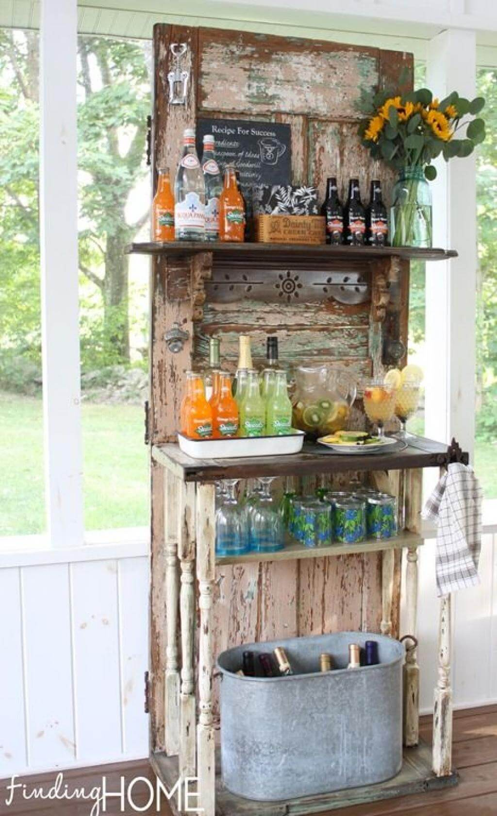 Weathered Door Garden Refreshment Stand