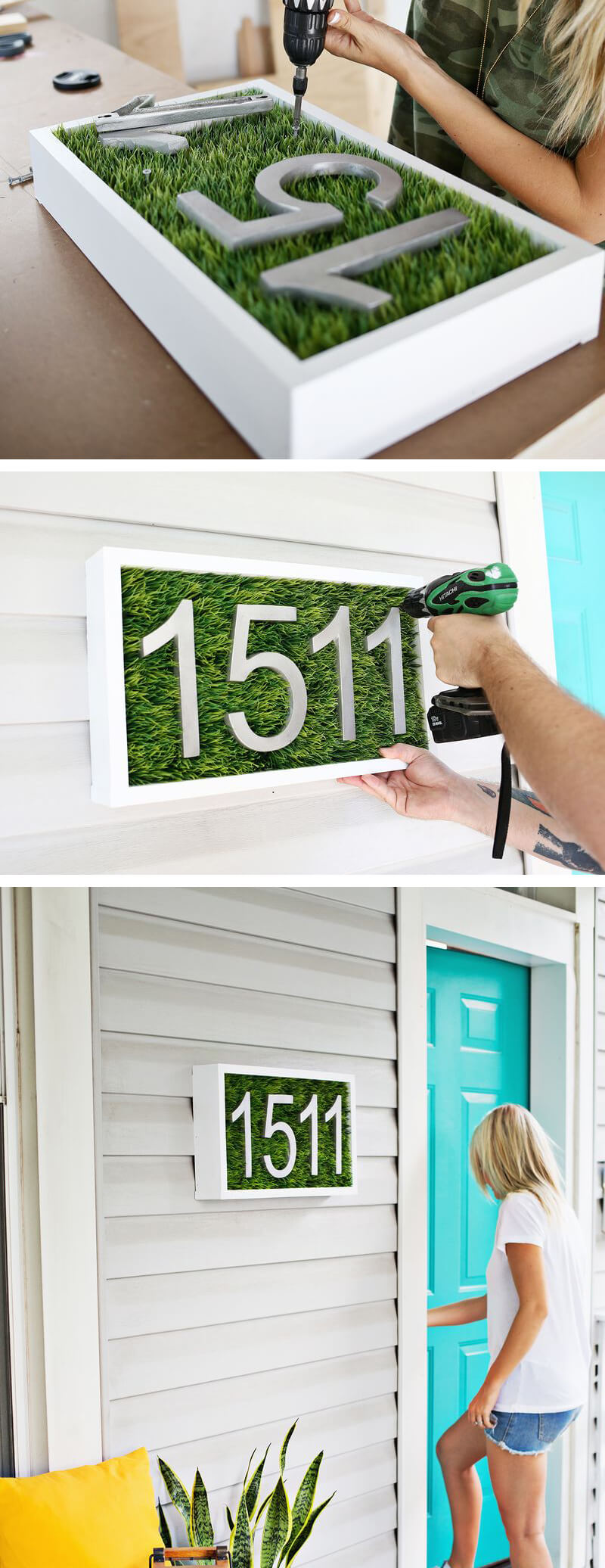 DIY Grass Shadow Box House Number