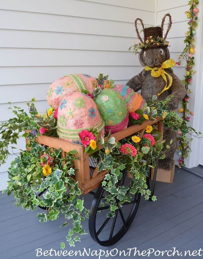 Bunny Egg Cart Decoration