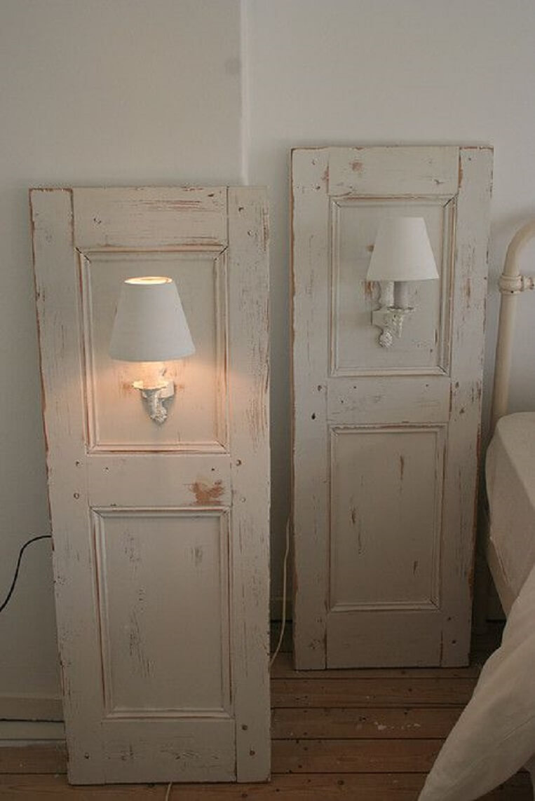 Whitewashed Twin Shutter Wall Sconces