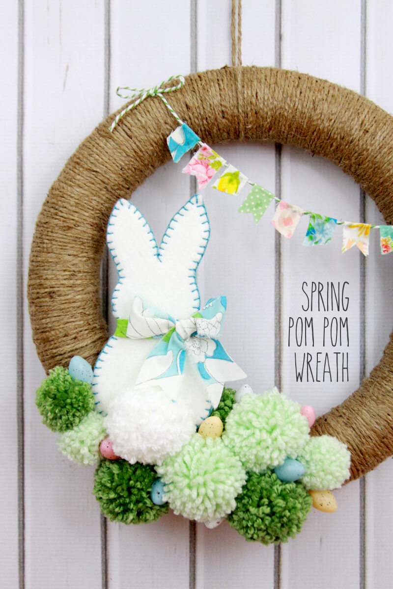 Easter Bunny Wreath with Pom-poms