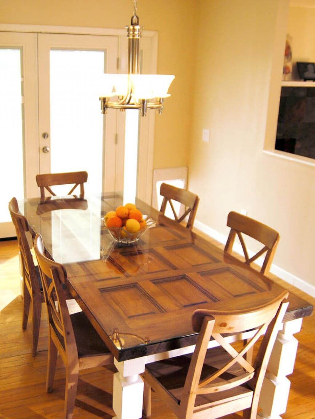 Twelve Panel Door Tempered Glass Dining Table