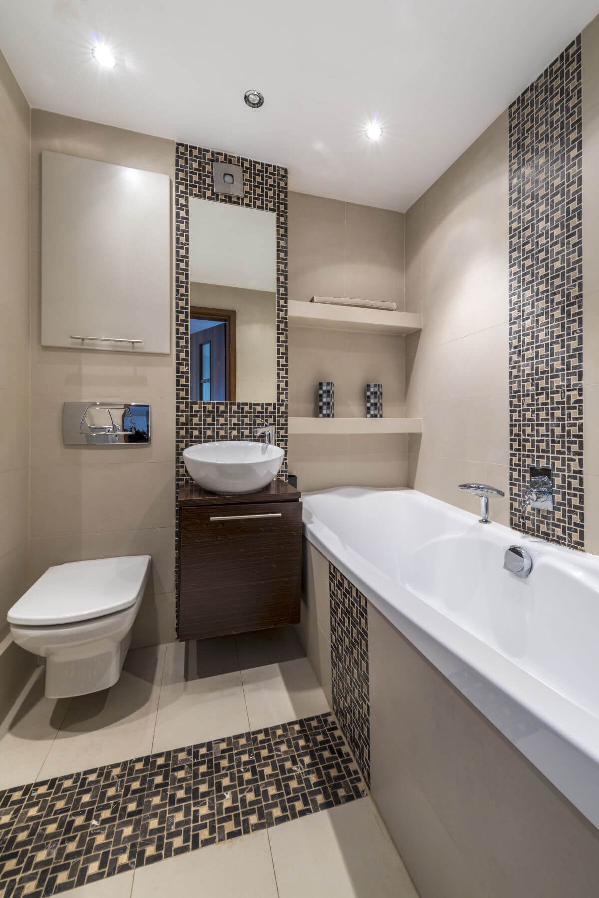 minimalist design with repeated tile patterns - Design Ideas For Small Bathroom