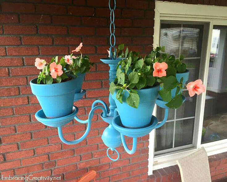 upcycled chandelier flower pot decoration - Porch Decor