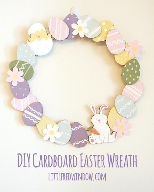 Adorable DIY Cardboard Easter Wreath