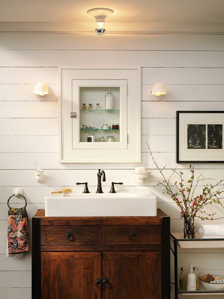 Recessed Medicine Cabinet and Farm Sink