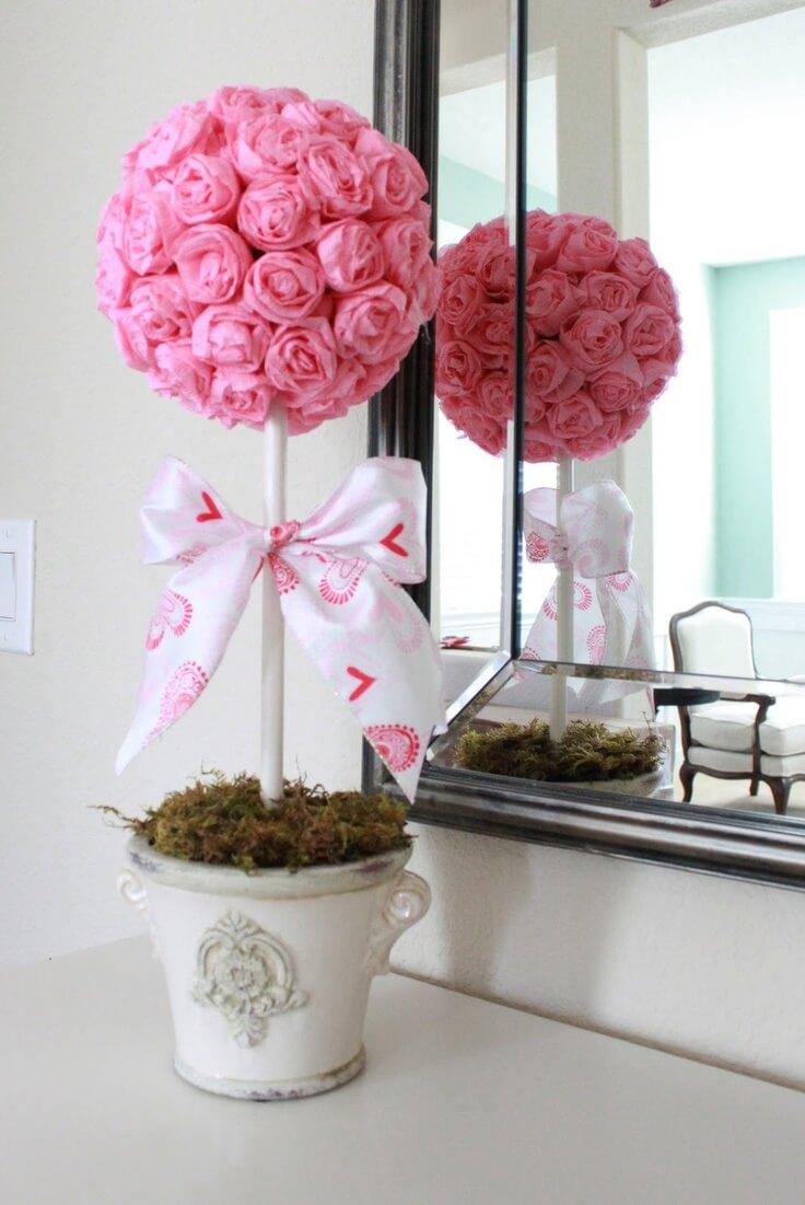 Petite Potted Tissue Paper Rosebud Topiary Homebnc