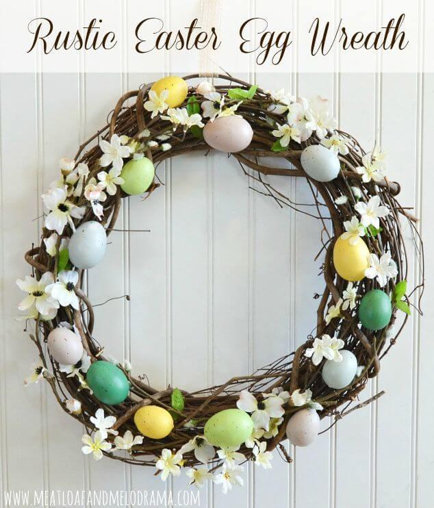 Rustic Grapvine Easter Egg Wreath