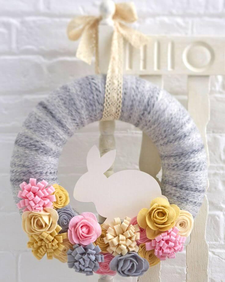 Cute Bunny Wreath with Fabric Flowers